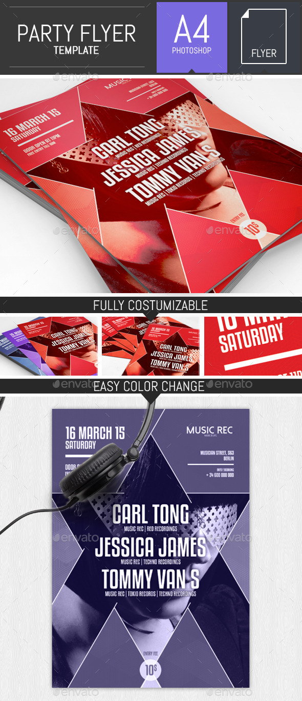 GraphicRiver Geometric Party Flyer Template 10643432
