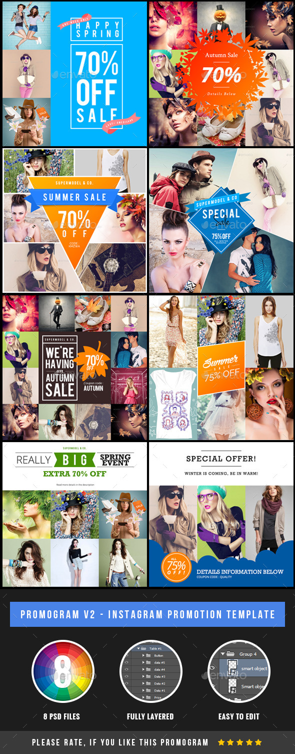 GraphicRiver Promogram 2 Instagram Promotion Template 10643792