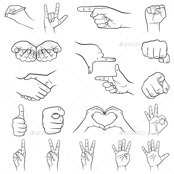 GraphicRiver Hand Gestures Set 10644056