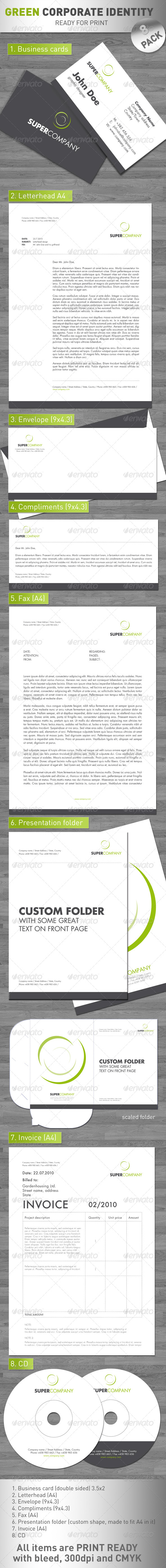 Green Corporate Identity - 8 PACK ! - Stationery Print Templates