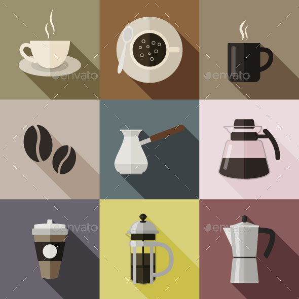 GraphicRiver Flat Coffee Icons 10645444