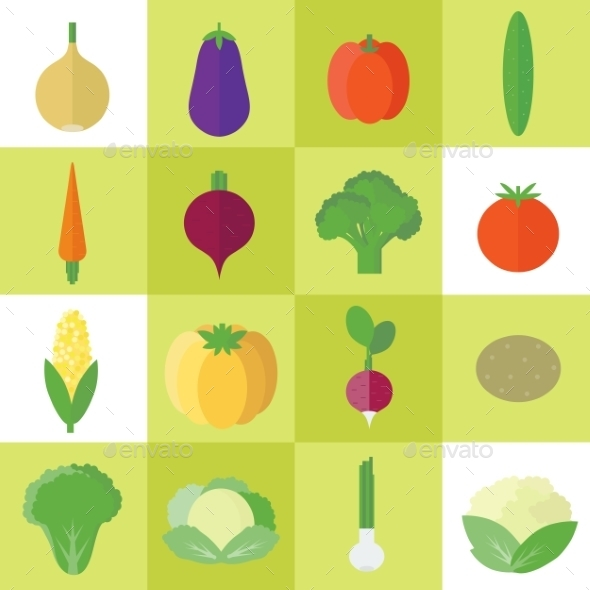 GraphicRiver Icons with Vegetables 10645470