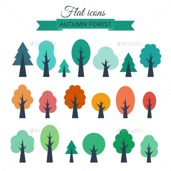 GraphicRiver Set with Colored Flat Trees 10645665