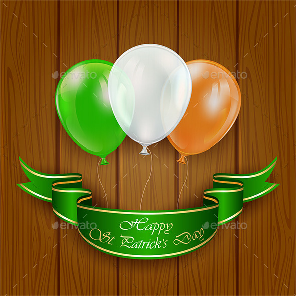 GraphicRiver Patricks Day Balloons on Wooden Background 10645887