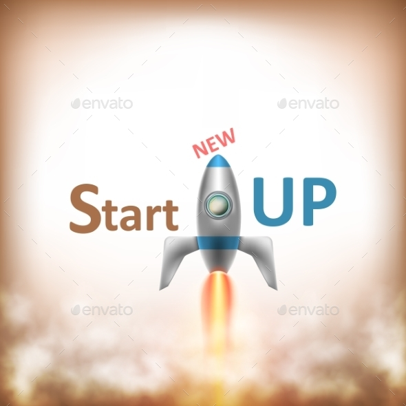 GraphicRiver New StartUP Text With Flying Rocket 10645888