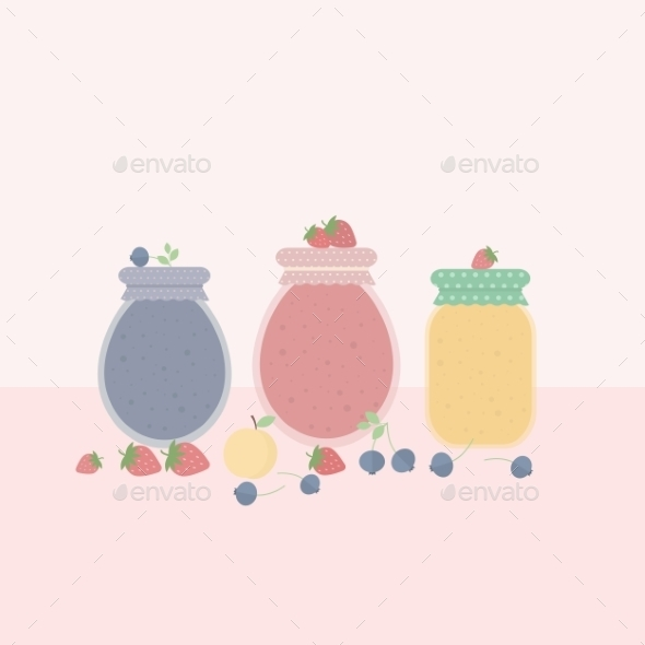 GraphicRiver Glass Jars of Jam 10645920