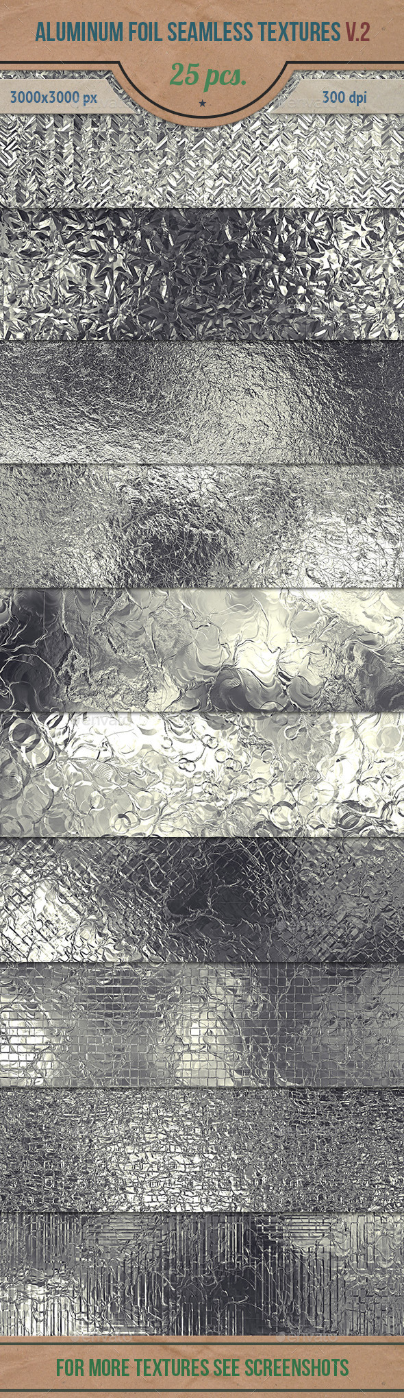 GraphicRiver Aluminum Foil Seamless HD Textures Pack v.2 10646071