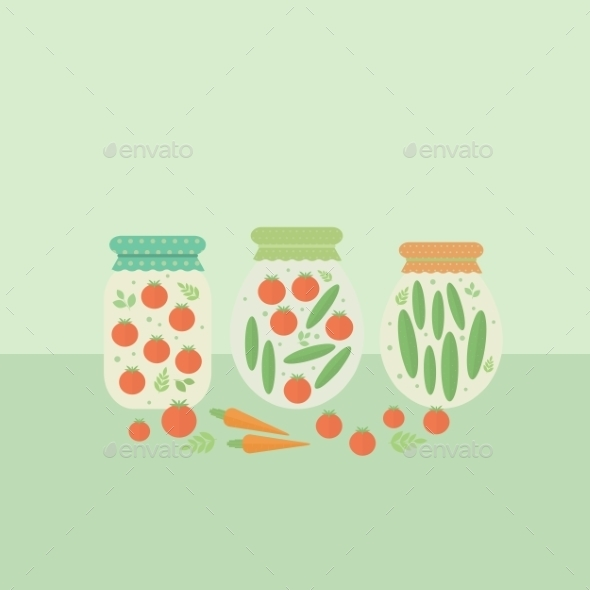 GraphicRiver Glass Jars with Vegetables 10646072