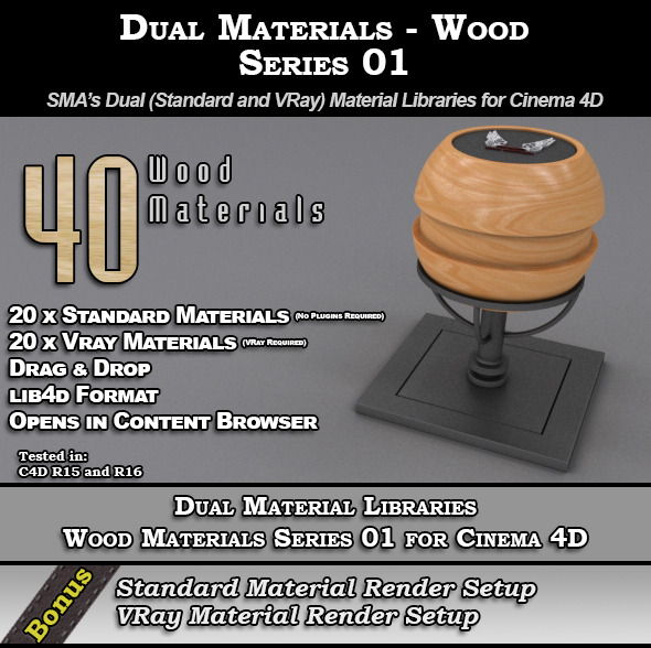 3DOcean SMA s Dual Material Pack Wood S01 for C4D 10646102