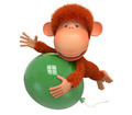 the red monkey with balloon - PhotoDune Item for Sale