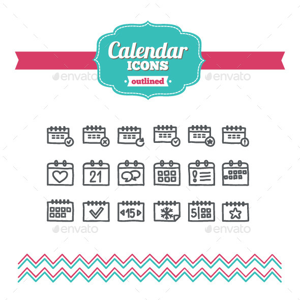 GraphicRiver Hand Drawn Calendar Icons 10646677