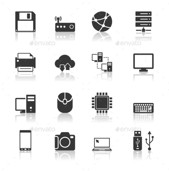 GraphicRiver Technology Icons Set with Reflection 10646768