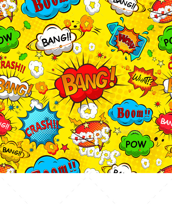 GraphicRiver Comic Speech Bubbles Seamless Pattern Vector 10647054