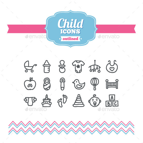 GraphicRiver Hand Drawn Child Icons 10647189