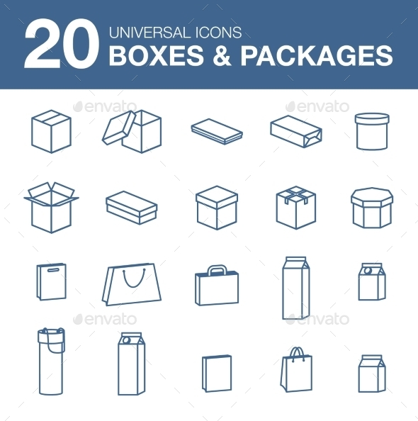 GraphicRiver Icons boxes and Packaging simple linear style 10647270
