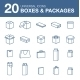 Icons boxes and Packaging simple linear style - GraphicRiver Item for Sale