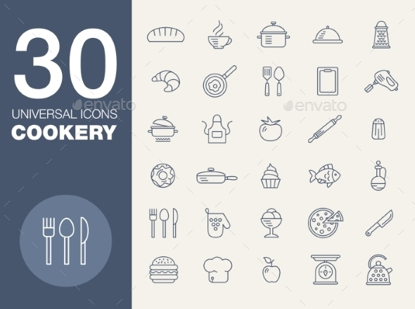 GraphicRiver Kitchen Seamless Pattern 30 Icon Set 10647317