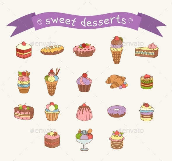 GraphicRiver Different Sweets Icons Set 10647324