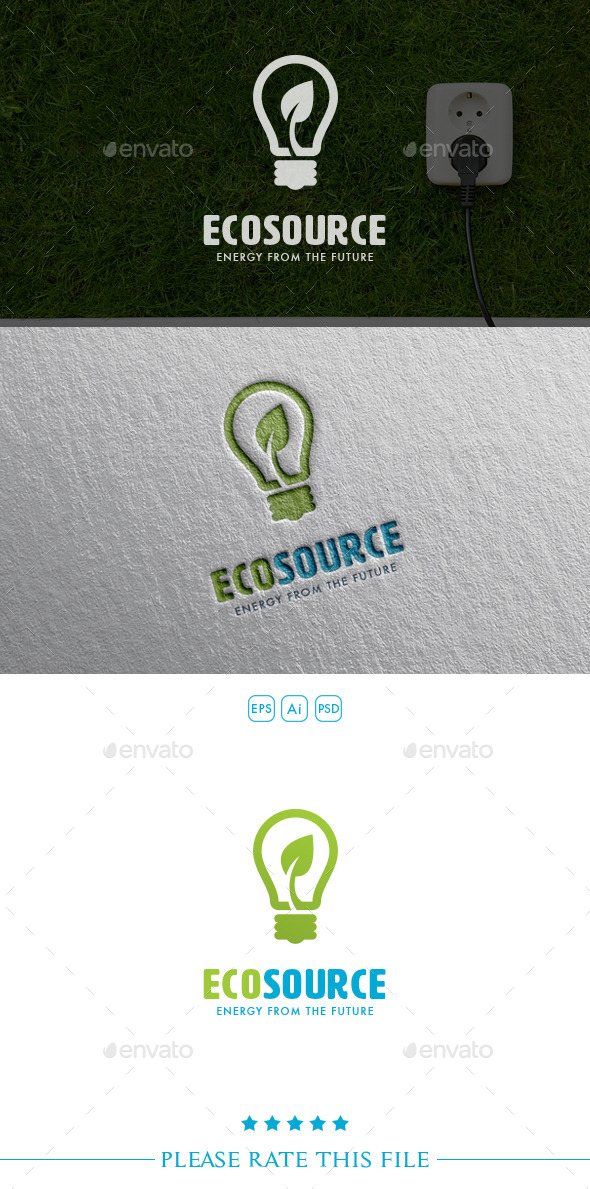 GraphicRiver Eco Source Bulb Logo 10647325