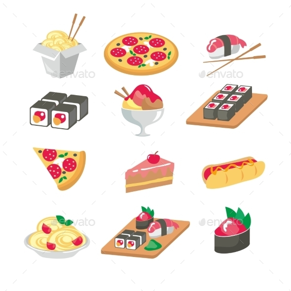 GraphicRiver Various Food Icons Set Fruit Vegetables Meat 10647330