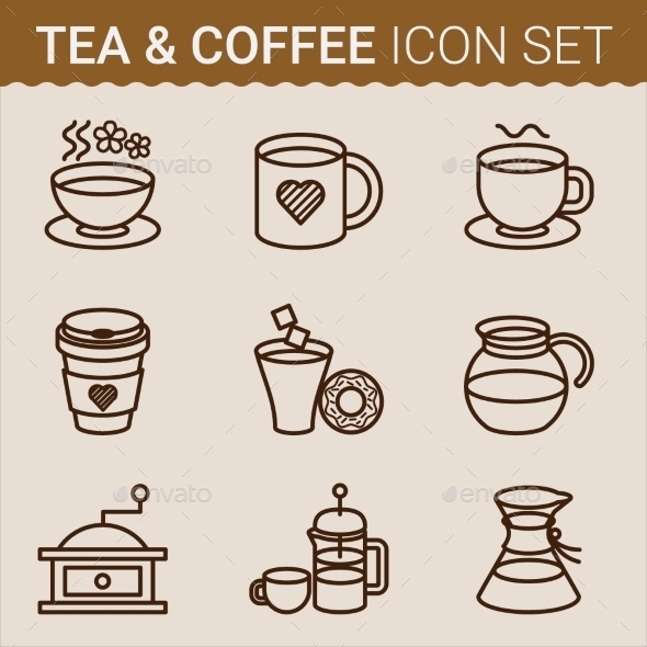 GraphicRiver Set of Coffee Icons Vector illustration 10647359