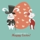 Easter Bunnies and Easter Egg - GraphicRiver Item for Sale