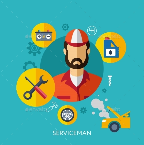 GraphicRiver Set Flat Icons with Man of Different Professions 10647552