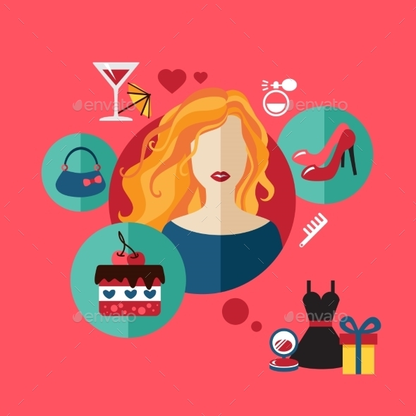 GraphicRiver Woman Shopping Flat Icon 10647565