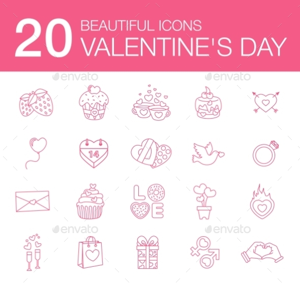 GraphicRiver Valentines Day Icons 10647656