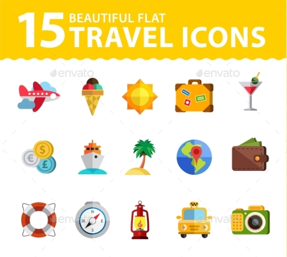 GraphicRiver Vector Summer Icons Flat Design Trend 10647680