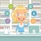 Pharmacist Woman Behind the Counter - GraphicRiver Item for Sale