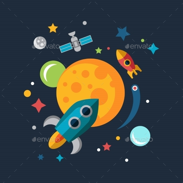 GraphicRiver Space Ship Starting Up Mars Sun and Earth 10647693