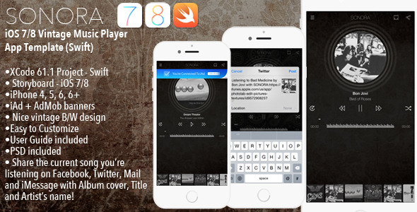 CodeCanyon SONORA iOS 7 8 iPhone Music Player App Template Swift 10539763