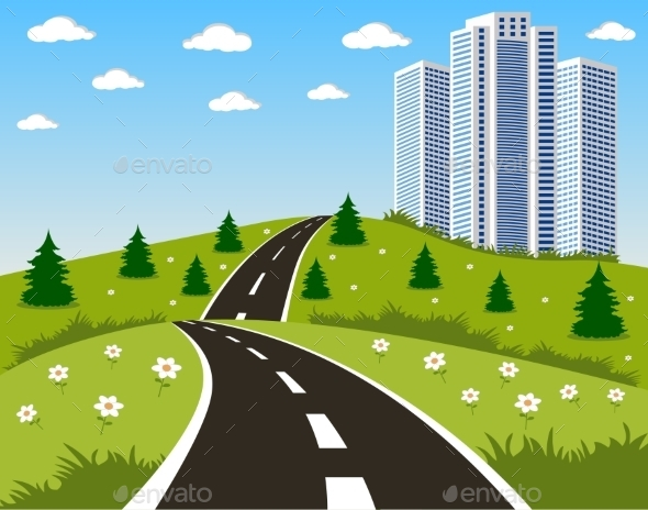 GraphicRiver Road to a City 10648021