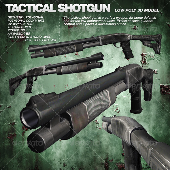 Tactical Shoot-Gun eitable 3ds max and obj file - 3DOcean Item for Sale