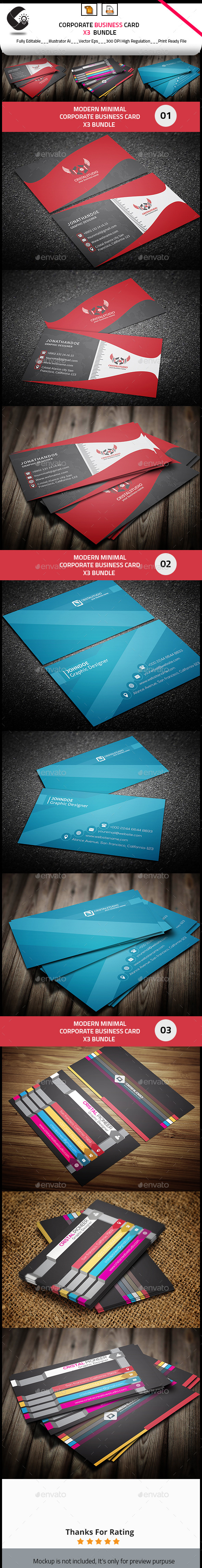 GraphicRiver Business Card Bundle 3 in 1 10648918