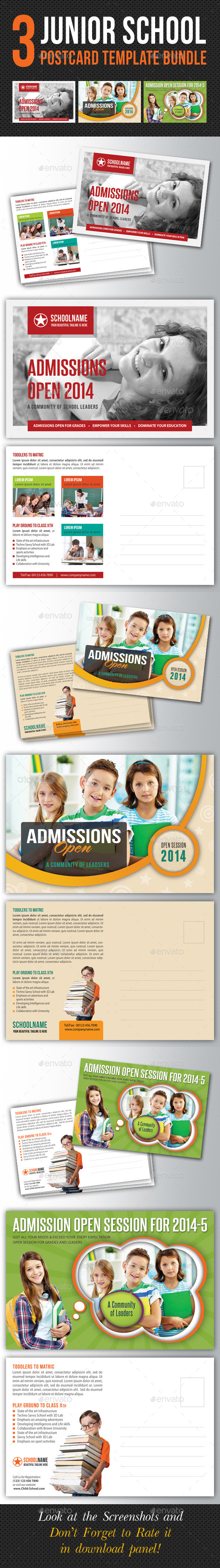 GraphicRiver 3 in 1 Junior School Promotion Postcard Bundle 01 10649458