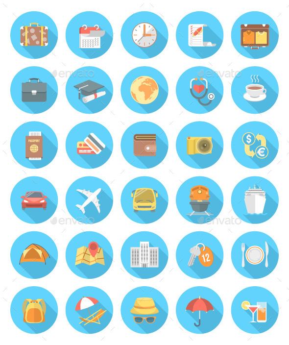 GraphicRiver Modern Flat Traveling Icons 10649779