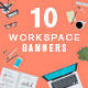 Set of Flat Design Workspace Banners  - GraphicRiver Item for Sale