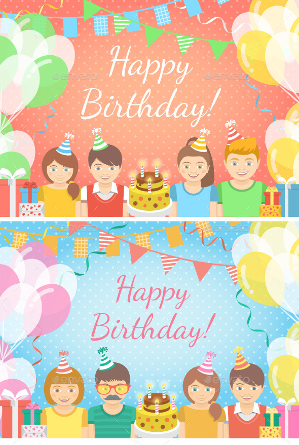 GraphicRiver Pink and Blue Kids Birthday Party Backgrounds 10651483