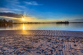 Patio terrace view over lake at sunset - PhotoDune Item for Sale