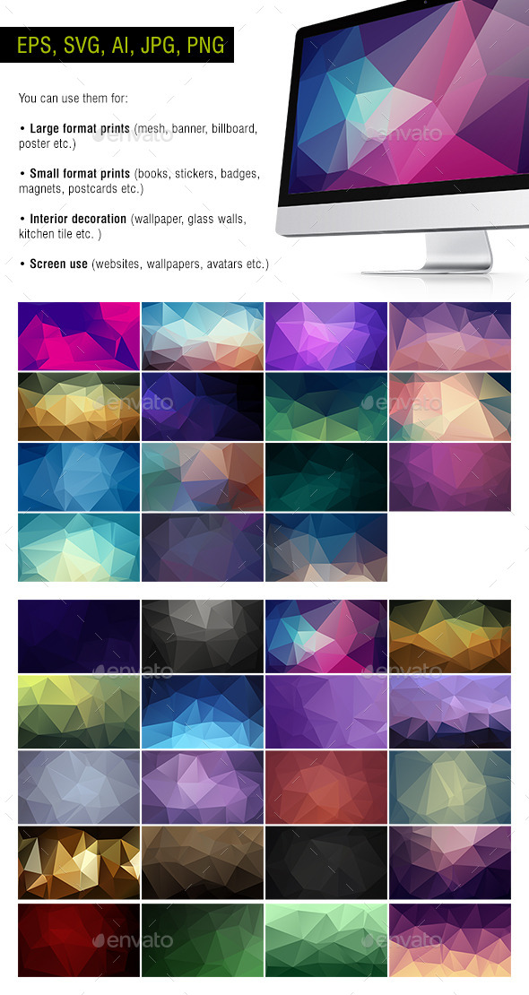GraphicRiver Polygon Backgrounds Dark Pack of 35 10652309