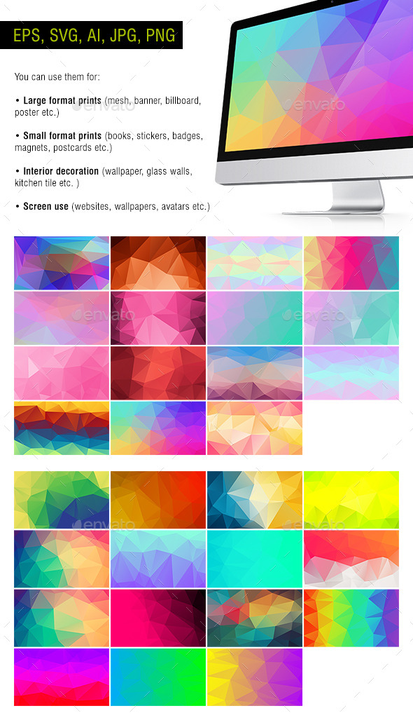 GraphicRiver Polygon Backgrounds Neon #1 Pack of 30 10652954