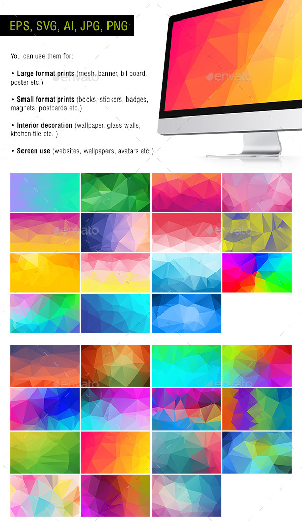 GraphicRiver Polygon Backgrounds Neon #2 Pack of 30 10653225