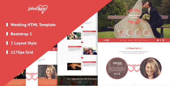 ThemeForest J&J Responsive Bootstrap 3 Wedding Template 10590412