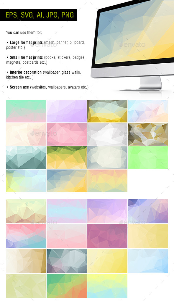 GraphicRiver Polygon Backgrounds Pastel Pack of 30 10653531