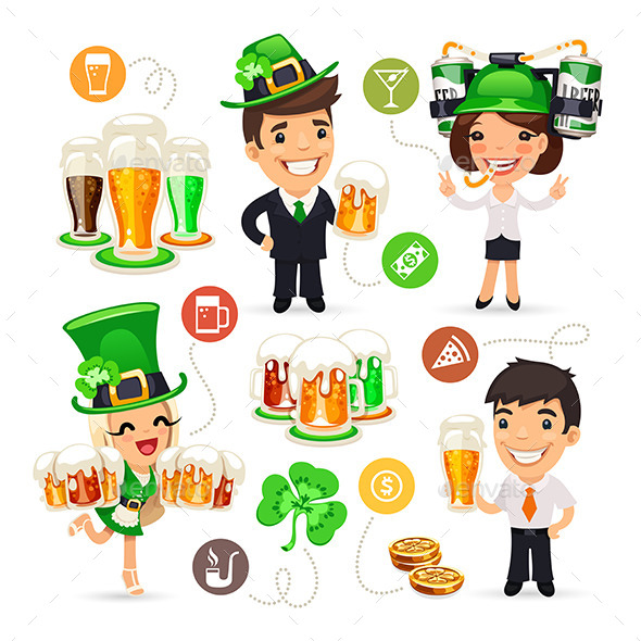GraphicRiver Office Workers on the Patricks Day Party 10635997