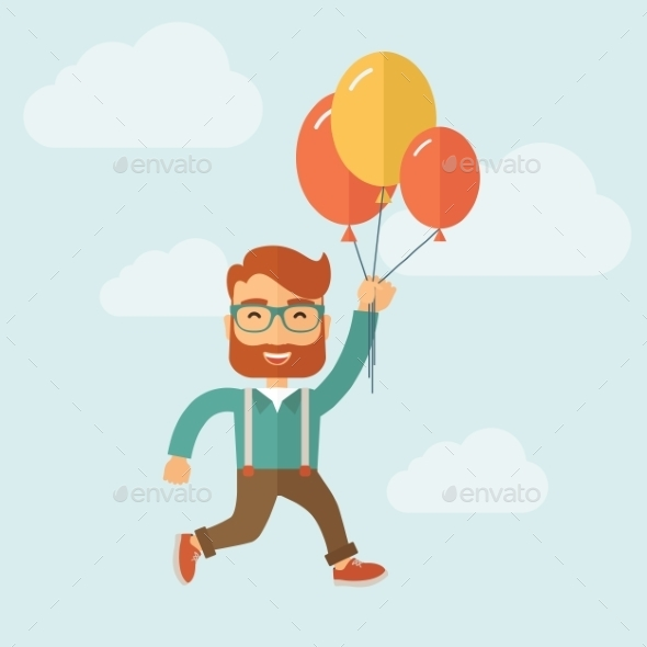 GraphicRiver Hipster Flying in Blue Sky 10653813