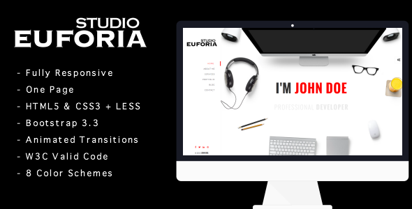 ThemeForest Euforia Responsive Vcard Template 10524527