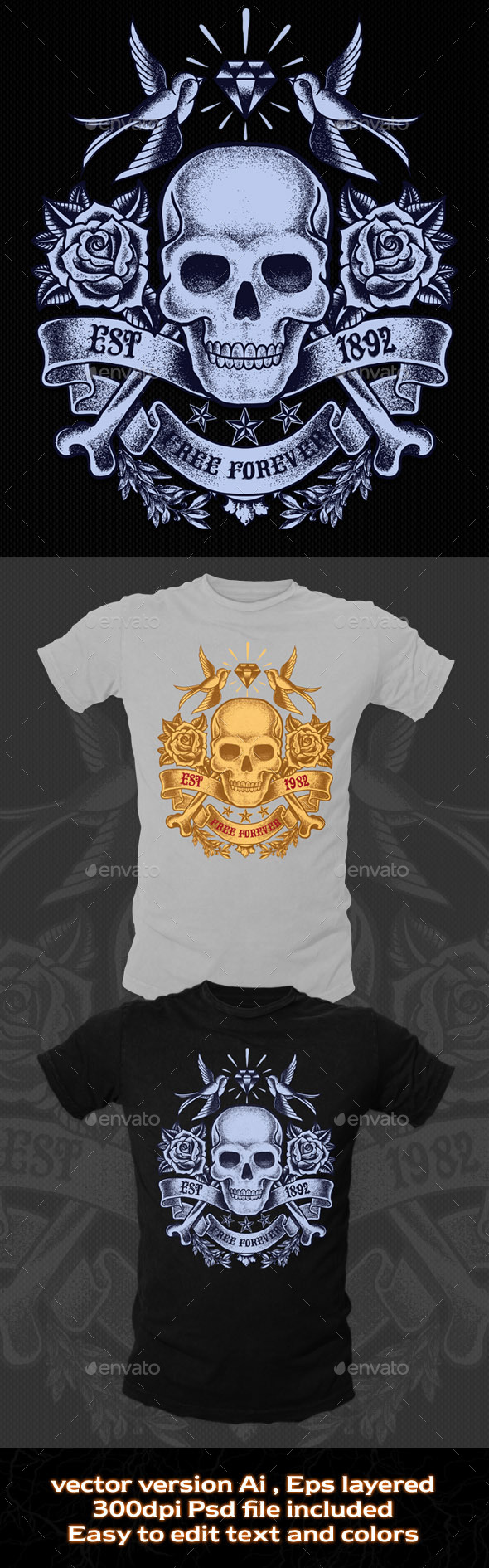 GraphicRiver Old Skull T-shirt Template 10654428